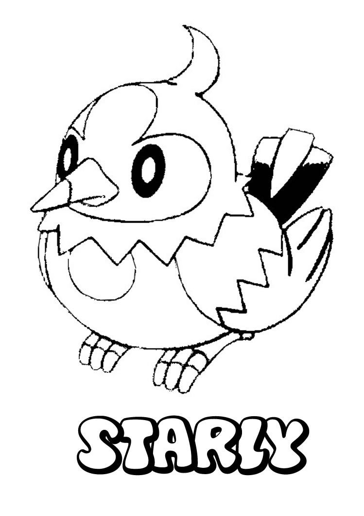 Pokemon coloring pages hitmonchan - Starly Pokemon Coloring Page More Pokemon Coloring Sheets On Hellokids Com