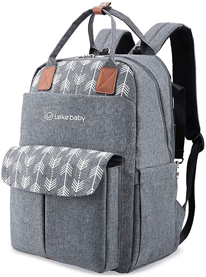 Lekebaby Baby Nappy Changing Backpack Bag with Changing Mat Arrow Print Grey