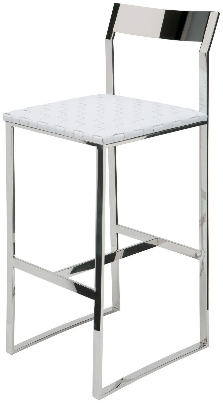 Camille Stainless Steel Bar Stool in White Leather by Nuevo HGDJ