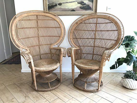 2 Peacock Fan Chairs Set Of 2 Full Size Emmanuelle Wicker
