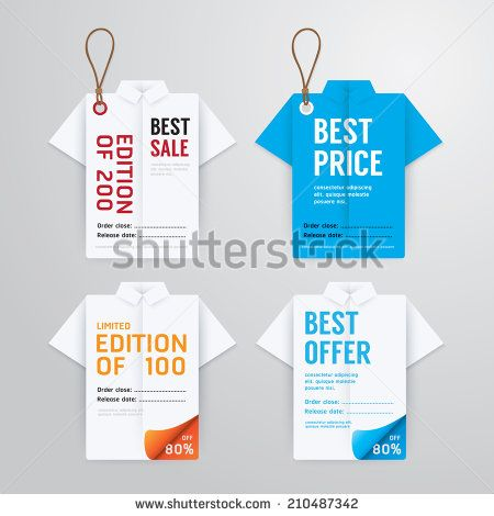Sale Banners Price Tag Paper Card Template Shirt Origami
