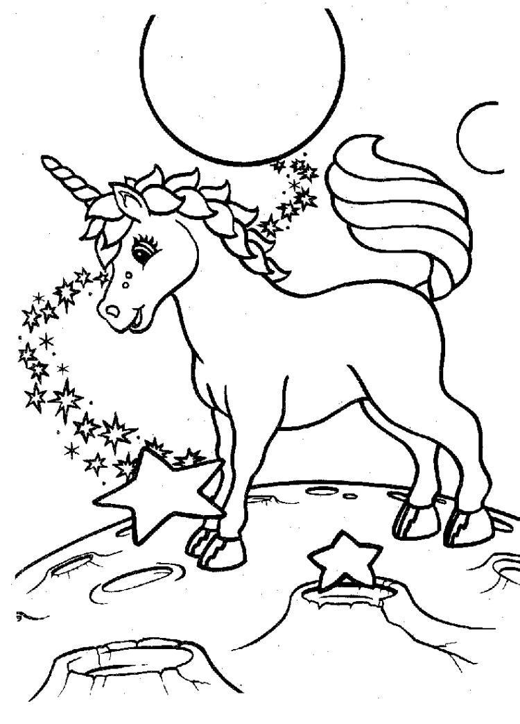 Kinder Malvorlagen Tiere Einhorn Sterne Mond Coloring Book Pages