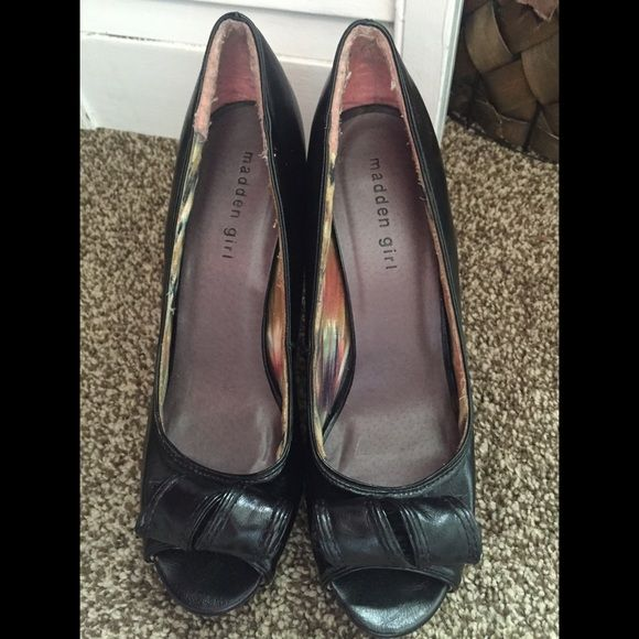 Madden Girl // Black Heels. Used. Sign of wear at the bottom, very comfortable and true to size. Heels are about 3-4 inches. Madden Girl Shoes Heels