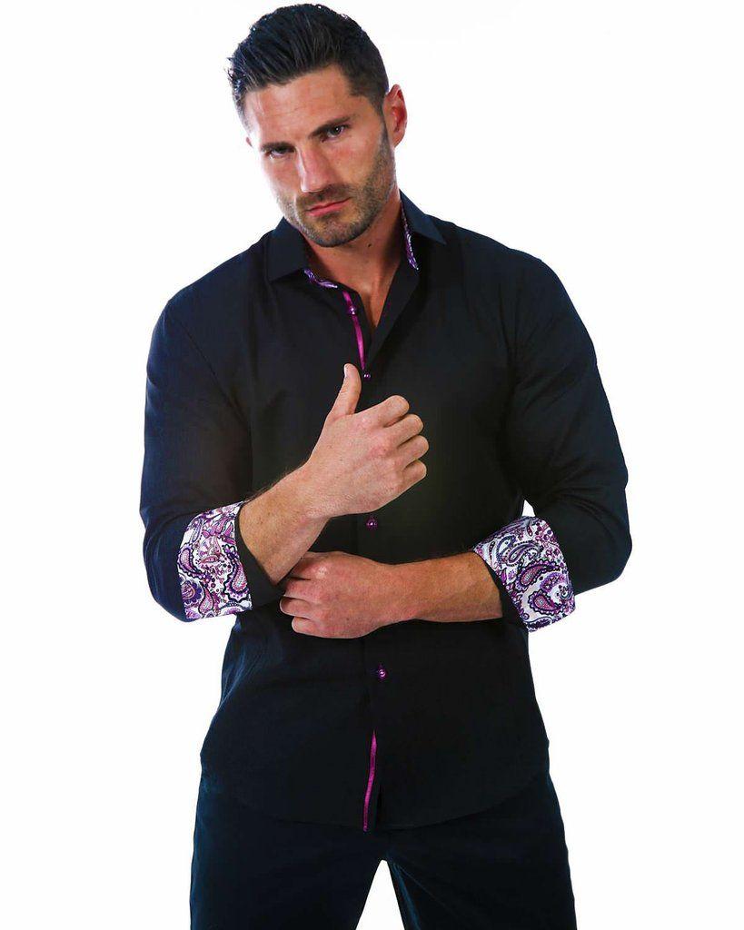 152246 - Black Button Up Long Sleeve Dress Shirt