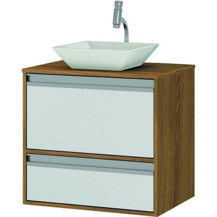 Gabinete Suspenso C Pia Banheiro Nogueir Branco 66x44 5x60cm