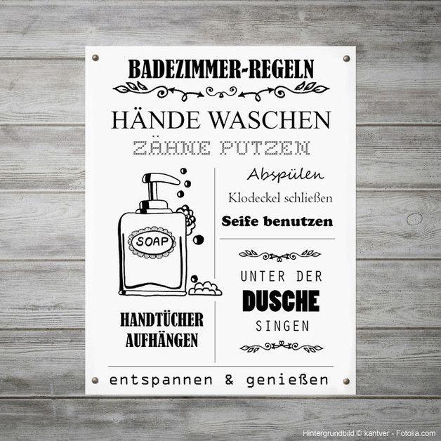 Regeln fürs Badezimmer als witzige Wanddeko, Illustration zum - bilder fürs badezimmer
