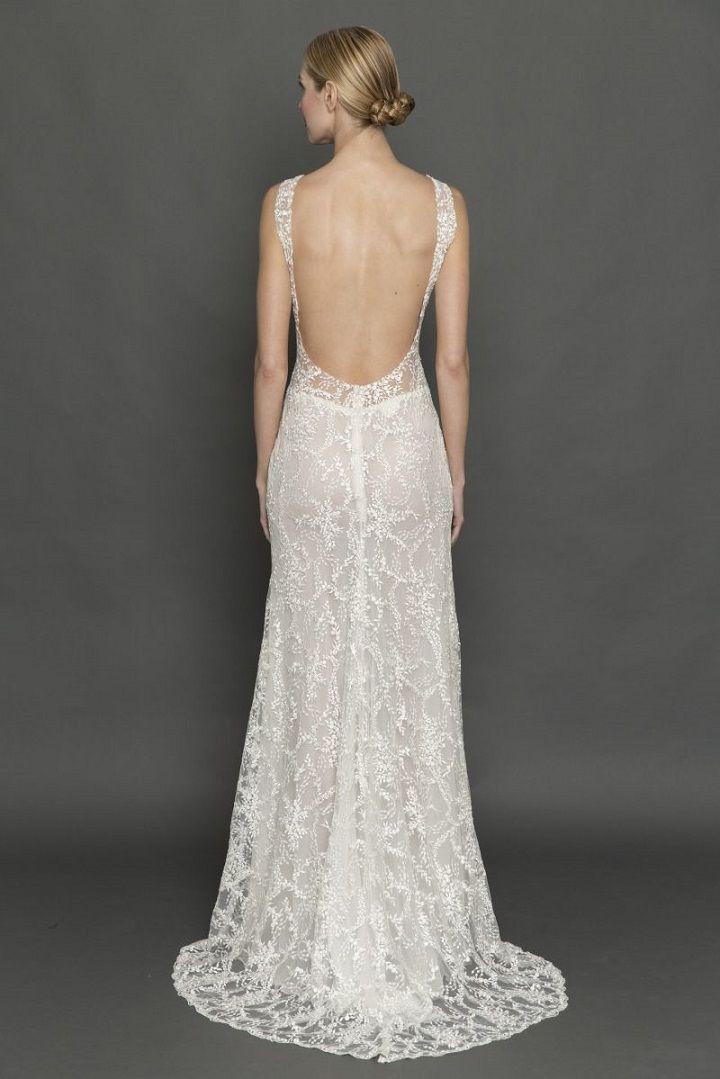 Francesca Miranda plunging neckline and deep open back wedding dress | itakeyou.co.uk #weddingdress #weddingdresses #pluginneckline #bride #bridalgown #weddinggown #weddinggowns