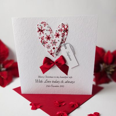 A Lovely Romantic Christmas Heart Personalised Card From Simply