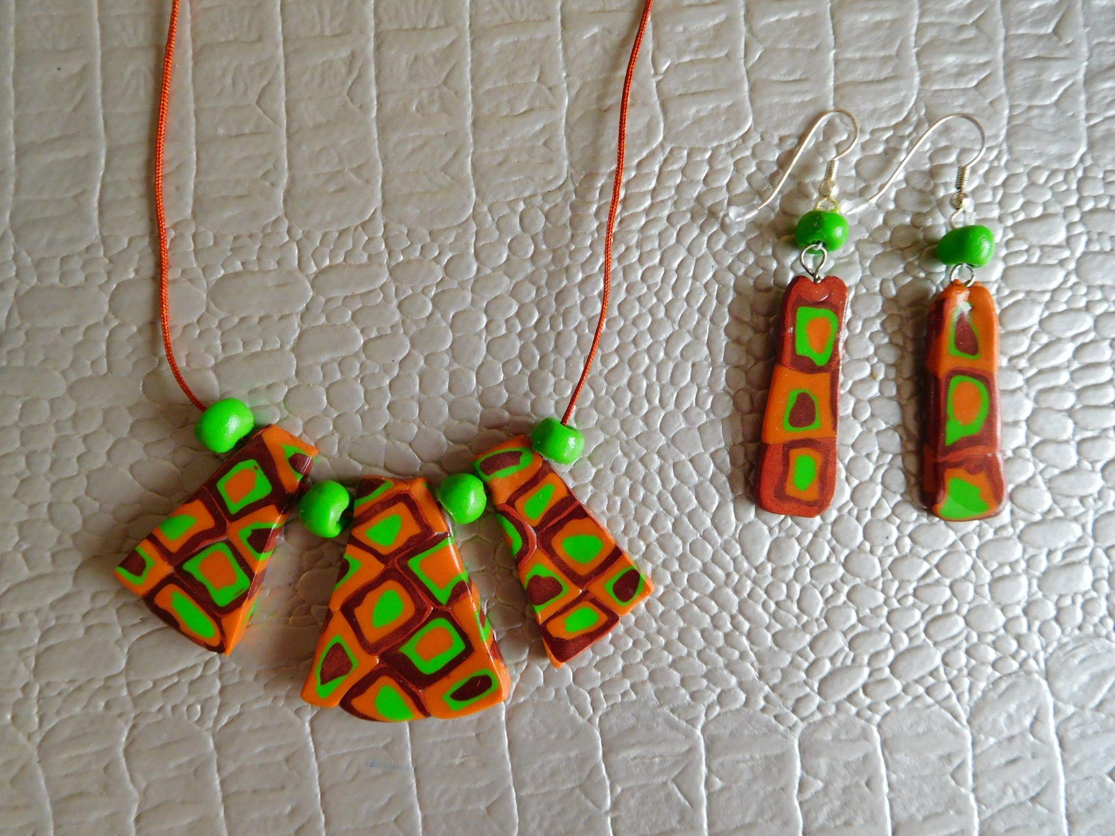 Tutoriel DIY FIMO collier pendentif et boucles d\u0027oreilles Bijoux en pâte  polymère