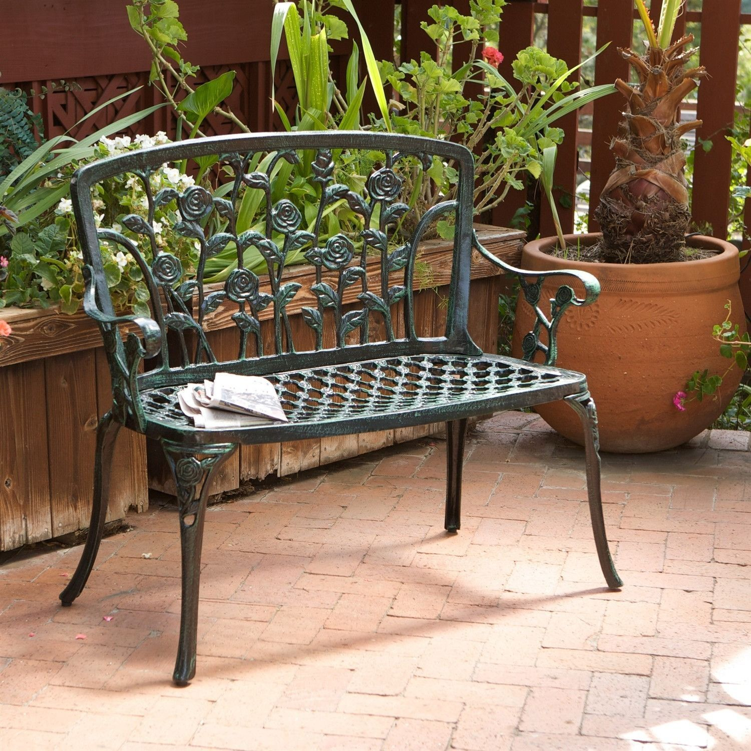 Fascinating Cast Aluminum Outdoor Rose Metal Garden Bench In Green Finish  With Inspiring Cast Aluminum Outdoor Rose Metal Garden Bench In Green Finish With Nice Garden Flowers List And Pictures Also Langton Garden Centre In Addition Garden Design Pictures And Youtube Vegetable Gardening Videos As Well As Aluminium Garden Furniture Sets Additionally Garden With Bricks From Pinterestcom With   Nice Cast Aluminum Outdoor Rose Metal Garden Bench In Green Finish  With Fascinating Youtube Vegetable Gardening Videos As Well As Aluminium Garden Furniture Sets Additionally Garden With Bricks And Inspiring Cast Aluminum Outdoor Rose Metal Garden Bench In Green Finish Via Pinterestcom