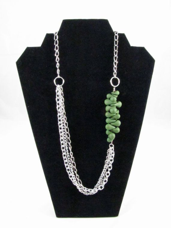 Green Polymer Clay & Multi Strand Silver Chain
