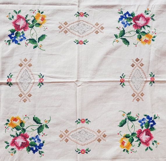Lovely Antique Hand Embroidered Table Cloth With Flowers Cross Sch Handmade Embroidery It Looks Beautiful Work Is A Real Treasure Because