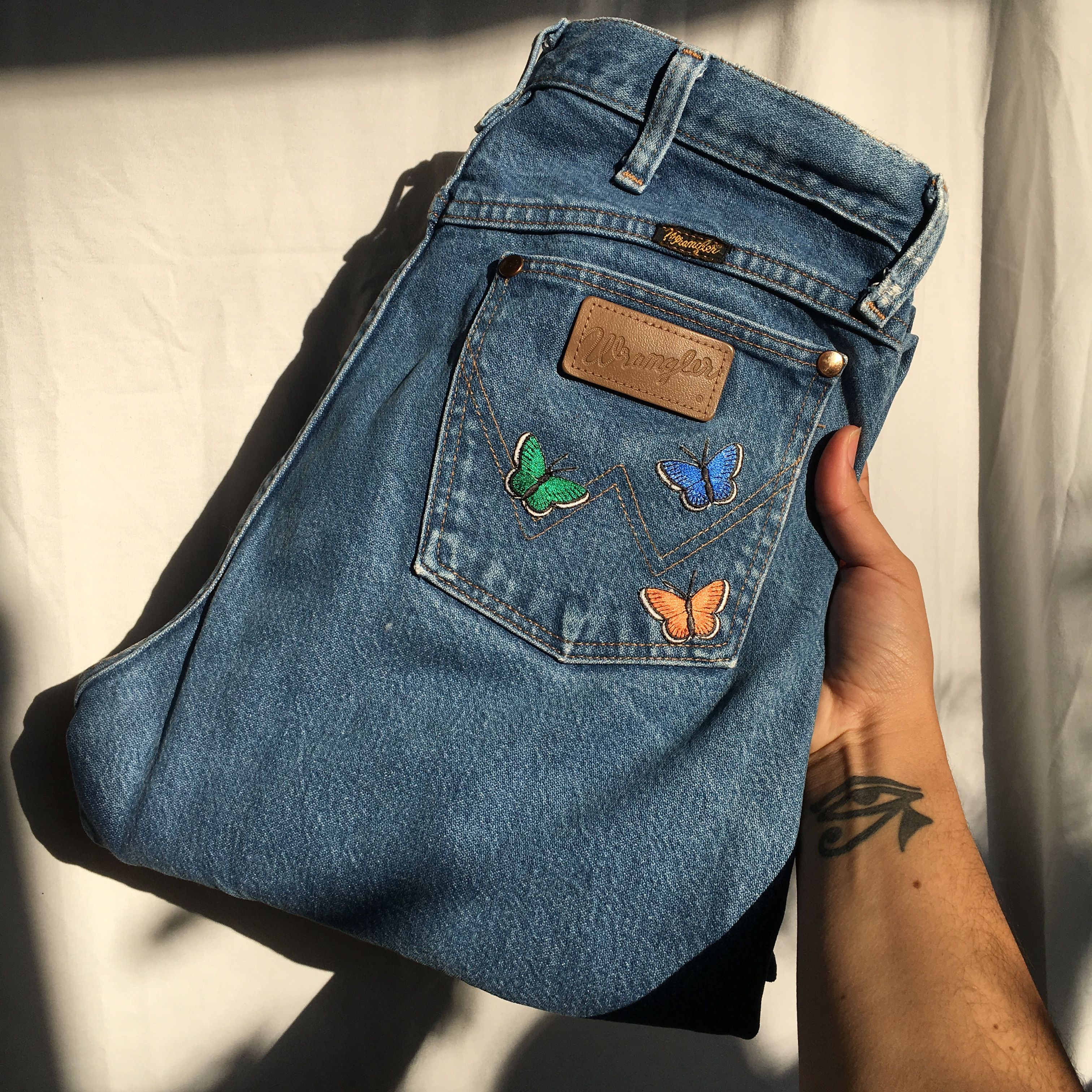 Photo of Thrifted retro butterfly high waisted mom jeans unisex