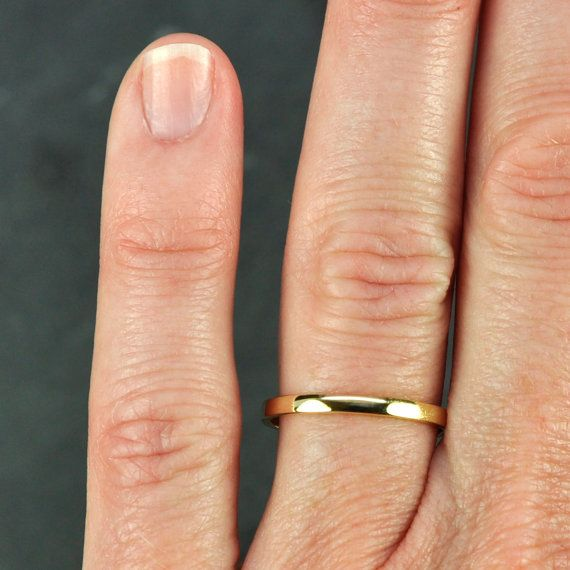 Gold Wedding Band Simple Stacking Ring 18k 2mm Recycled Eco Friendly Sea Jewelry
