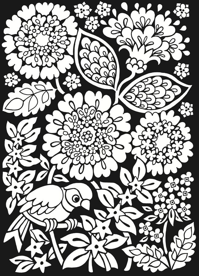 Dover Sample from From: Floral Fantasies Stained Glass Coloring Book ...