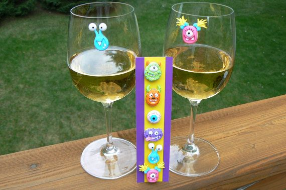 Cute Little Monsters Magnetic Wine Glass Charms Ack How Fun Are These Have To Order These Now So They Wine Glass Charms Wine Glass Tags Wine Glass Markers