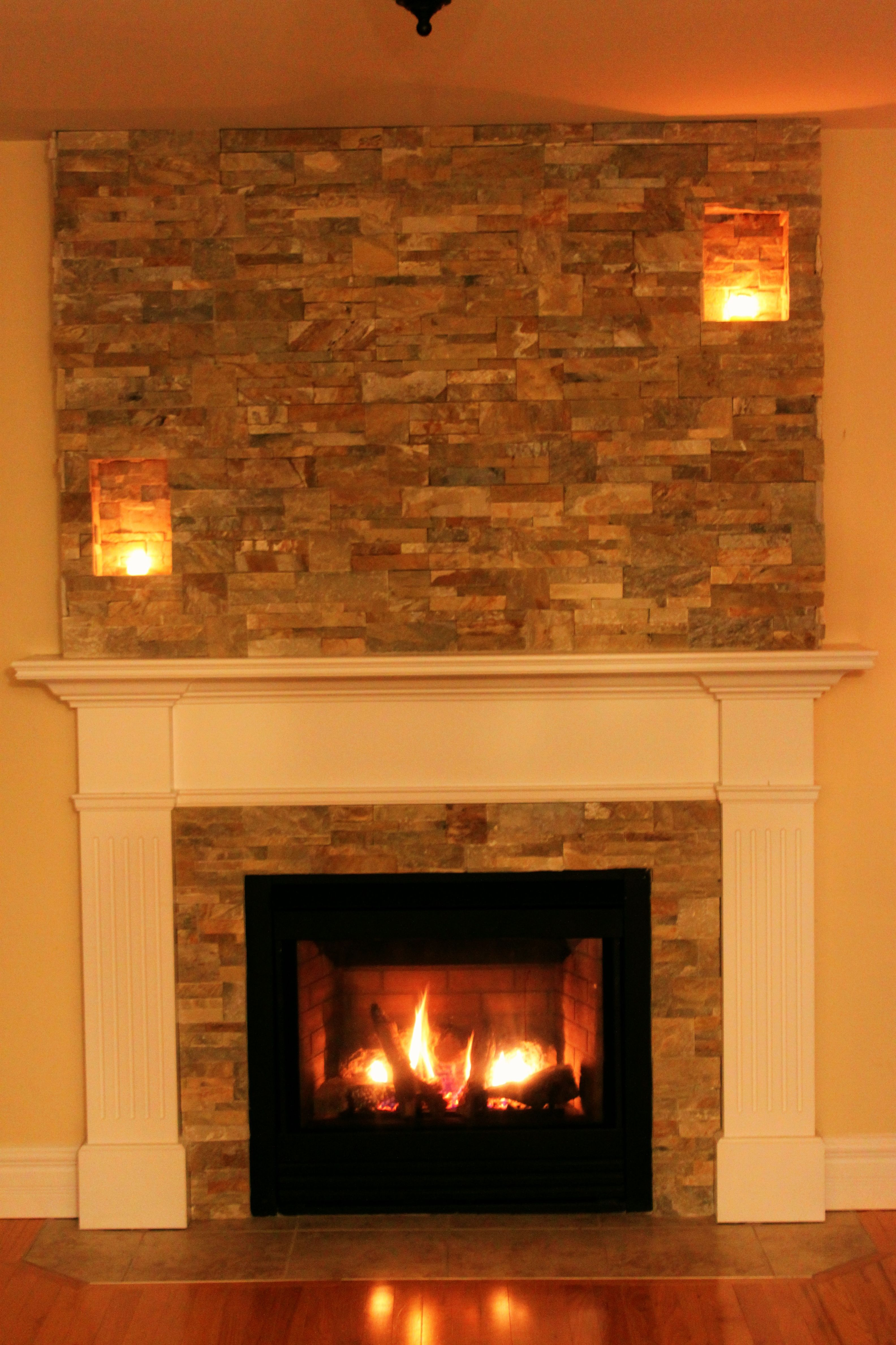 Our faux chimney by stepping stone and tile sst added to for Fireplace material options