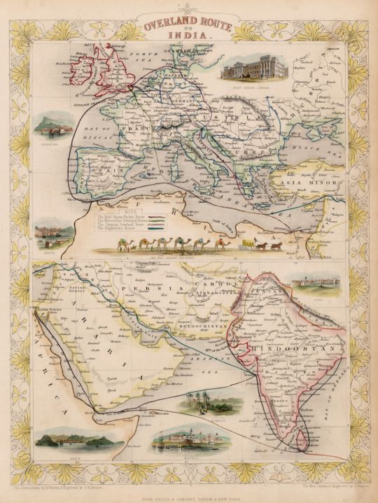 This map of trade routes with India was made in 1851 by John Tallis.