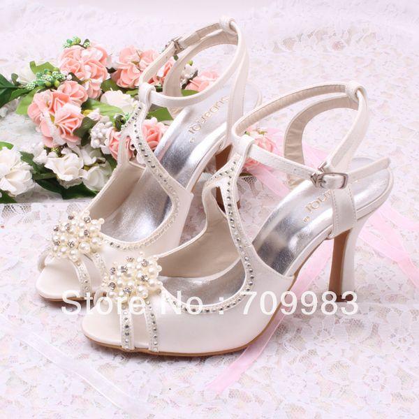 Custom Handmade Pearl Roman Wedding Bridal Party Sandals Gladiator Style 8CM Heel Free Shipping $44.40