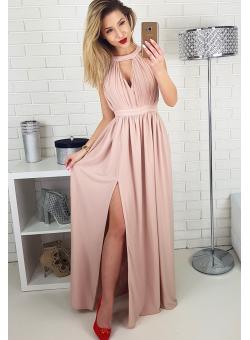 d9f775bd2c SHINY - Długa sukienka ZE ZŁOTĄ NITKĄ NUDE Suknie Homecoming