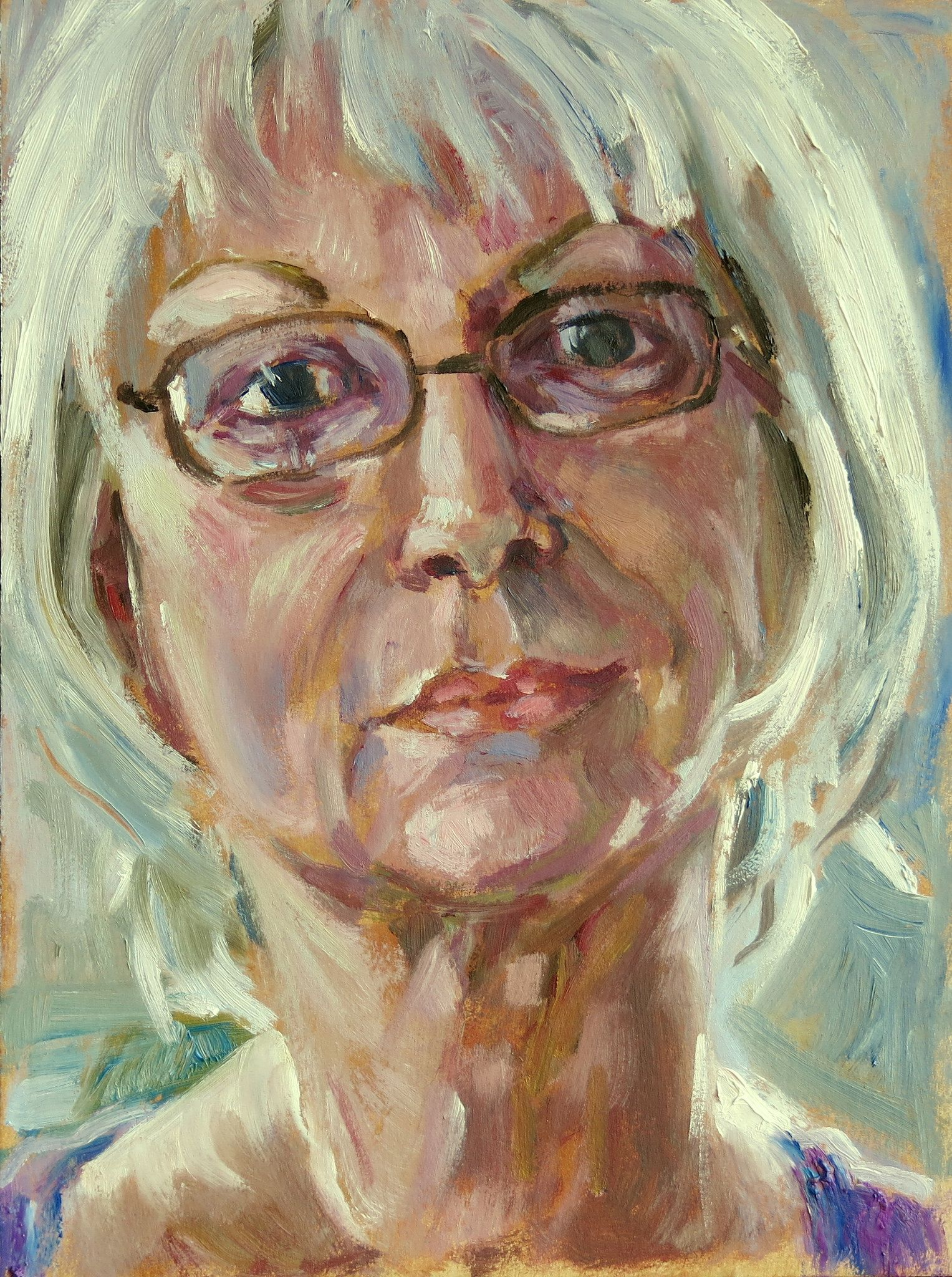 https://flic.kr/p/pmSqqY | paula ko | oil  on paper, on ochre ground  www.flickr.com/groups/portraitparty/discuss/7215763973387...