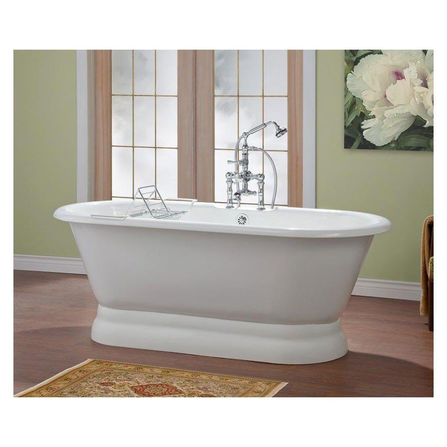 Island tub drain acri tec bath and kitchen products - Cheviot Carlton 70 Inch Cast Iron Bathtub With Flat Rim And Pedestal Base With Faucet Drillings