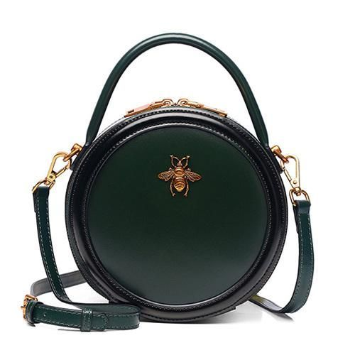Overview Design: Genuine Leather Circle Round Crossbody Bags Purses In Stock: 3-5 Days to Process Orders Include: A Bag Material: Italian Cowhide Color: Red, Brown, Black Measures: 7.5