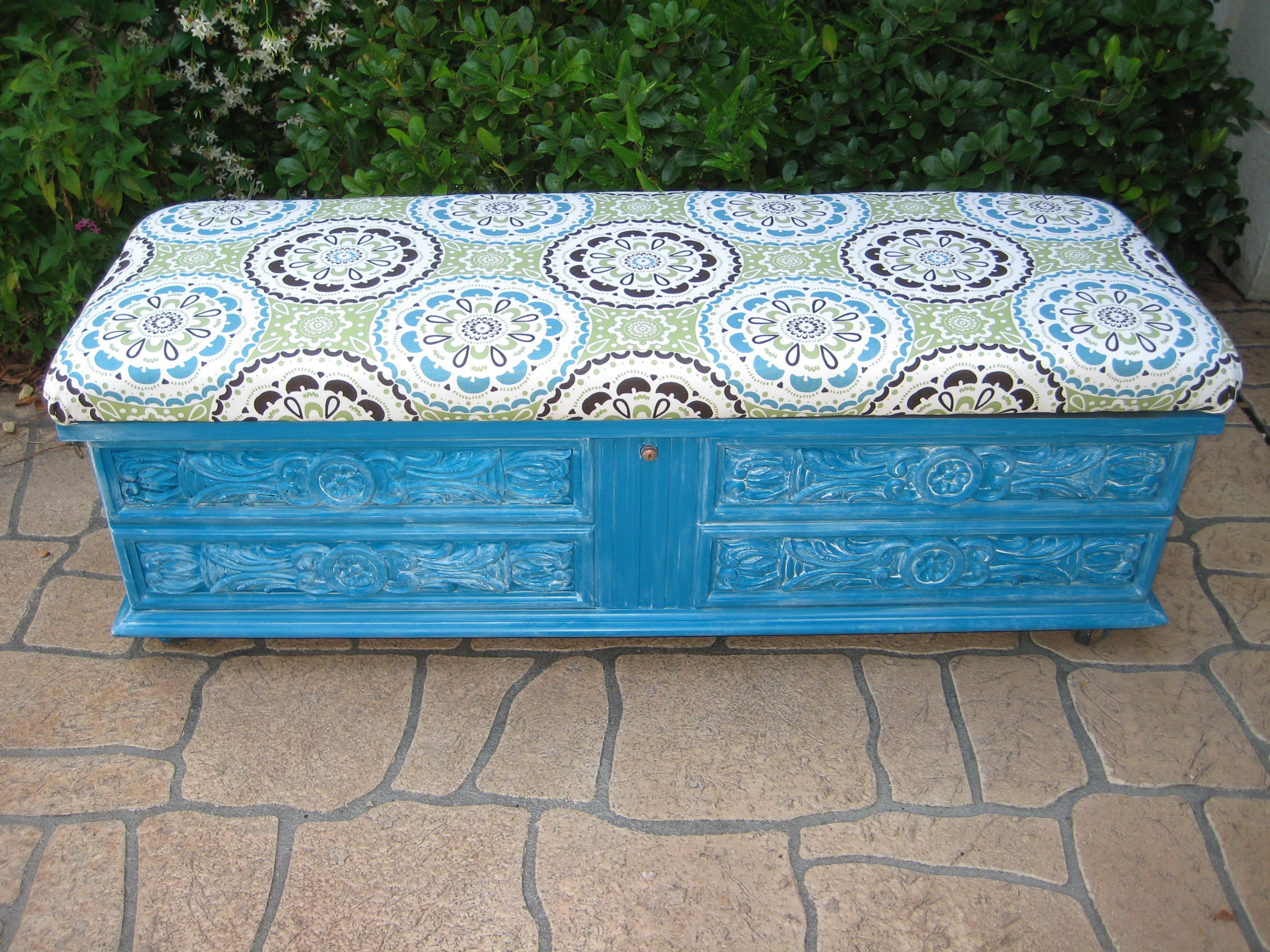 After Picture Of Lane Cedar Lined Chest/ Bench Painted Teat/ Turquoise With  White Glaze