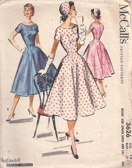 Mccall S 3626 1950s Dress Patterns Vintage Dress