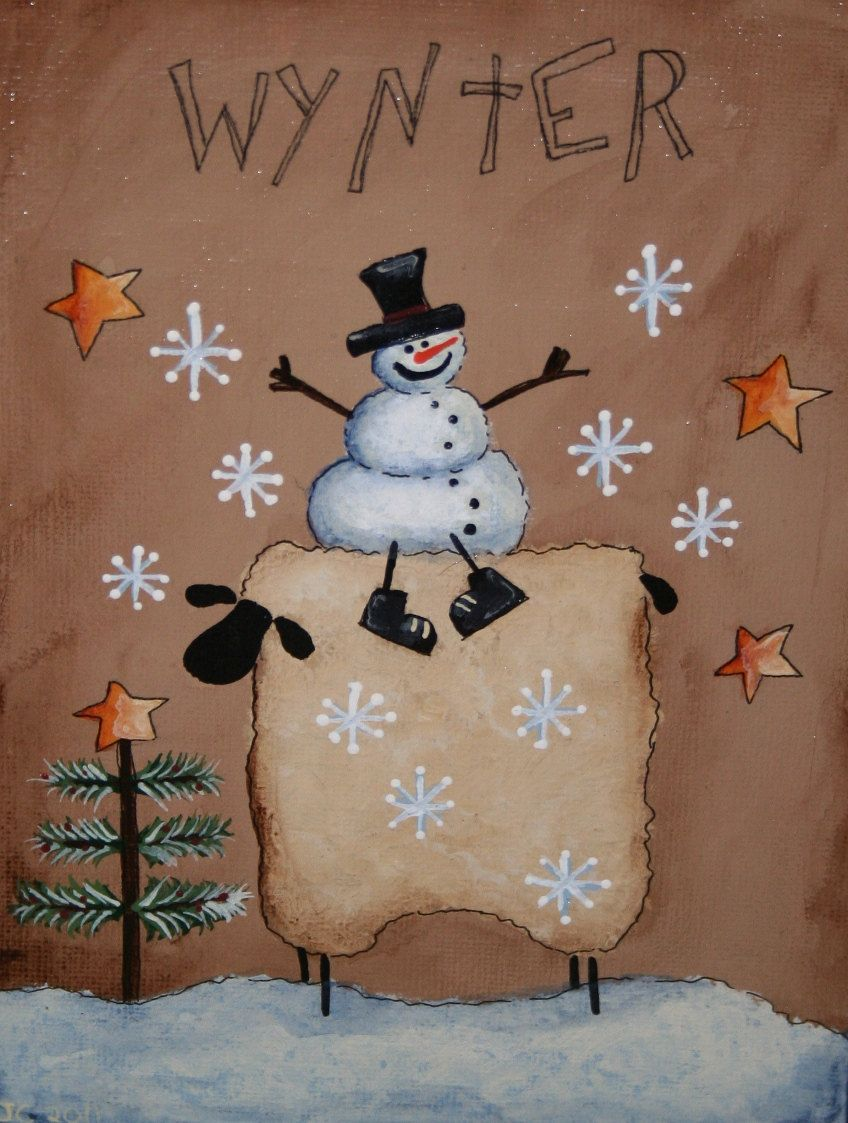 Primitive Snowman and Sheep painting Hand Painted on