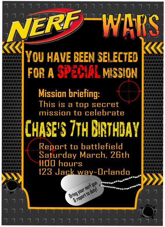 Nerf War Invitation Wars Birthday By 5MonkeysClipart