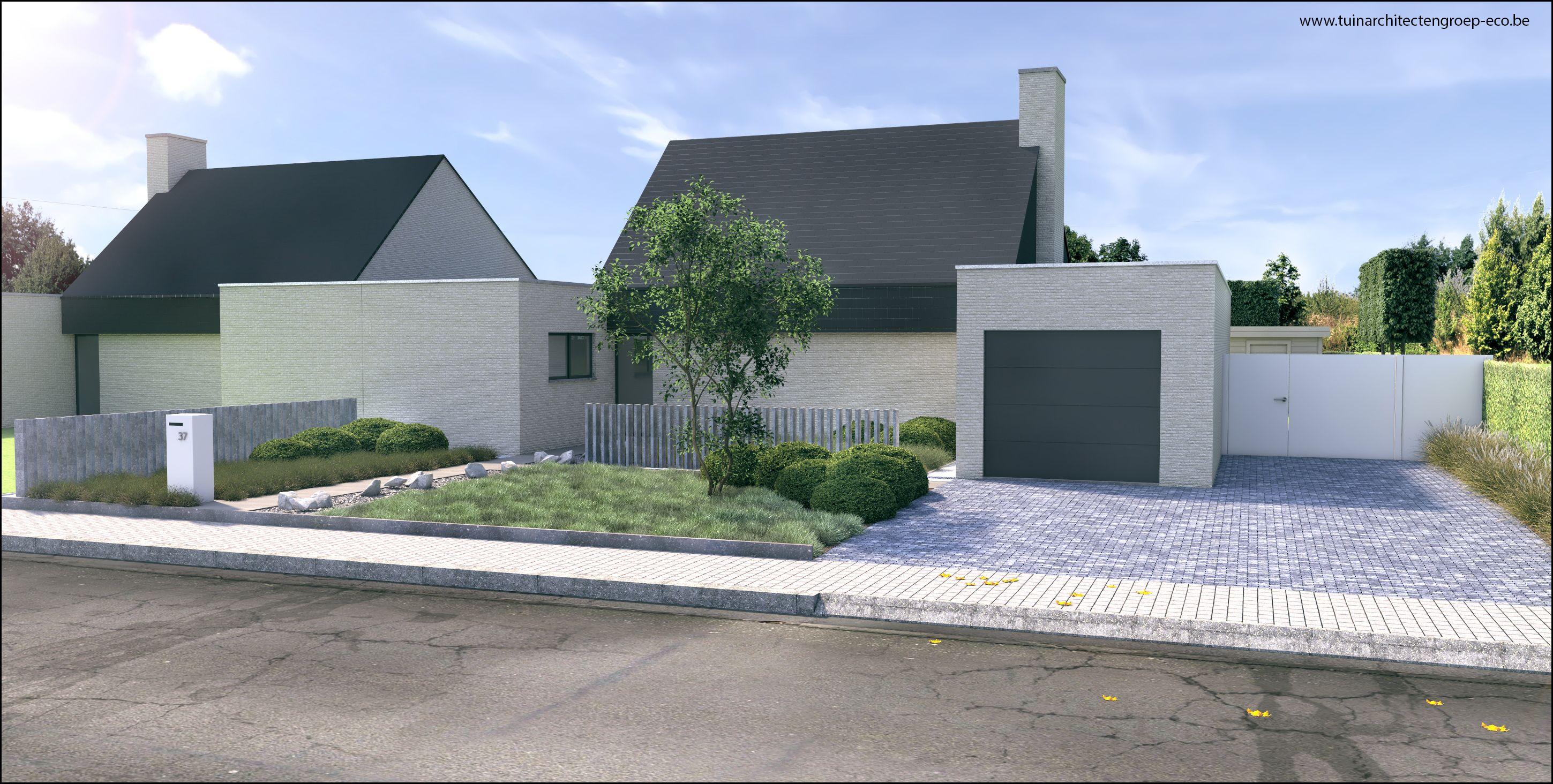 Tuinontwerp moderne tuin bij hedendaagse woning aalst betontegels