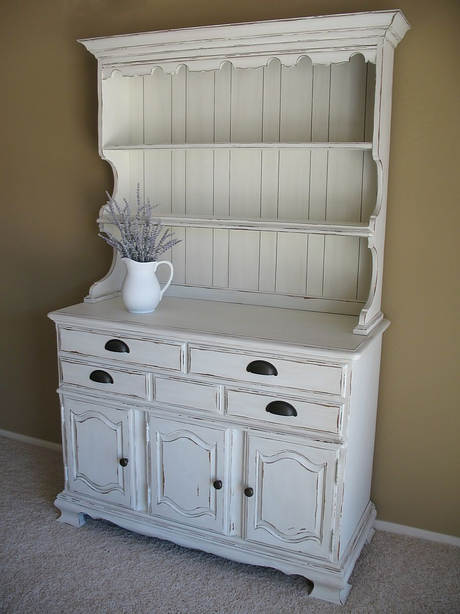 Farmhouse Distressed White Hutch