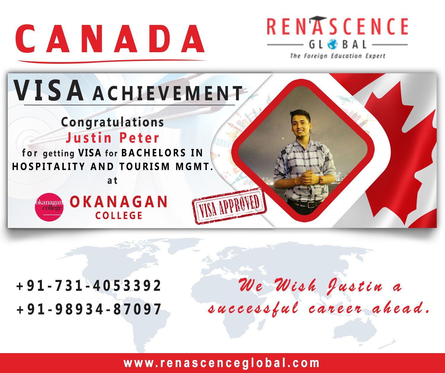 Congratulations Justin Peter For Getting Visa For Bachelors In Hospitality And Tourism M Hospitality And Tourism Management Tourism Management Achievement