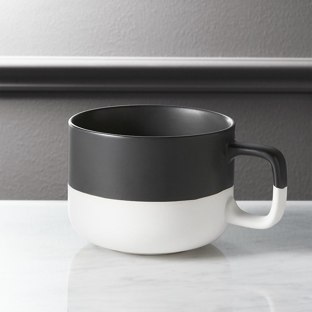 Dip black and white coffee mug reviews cb2 white