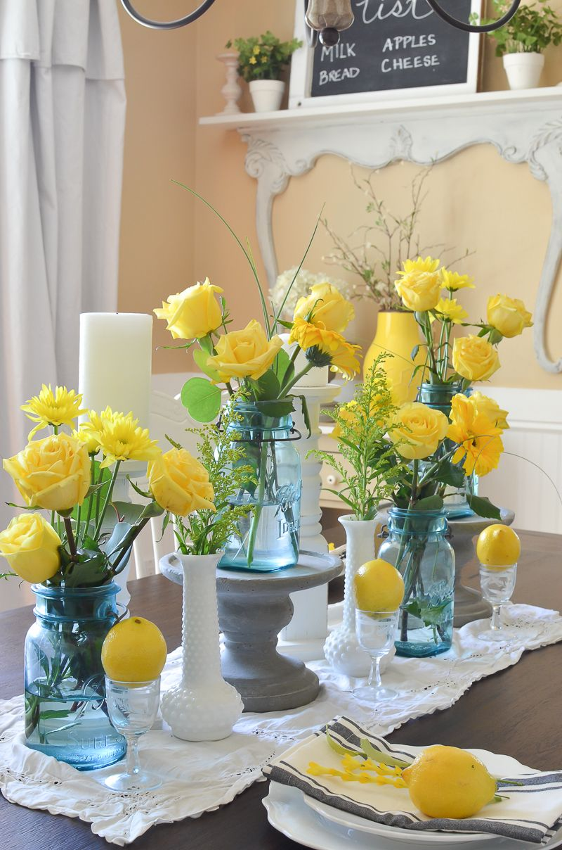 Simple Summer Dining Room Dining Room Table Centerpieces Summer
