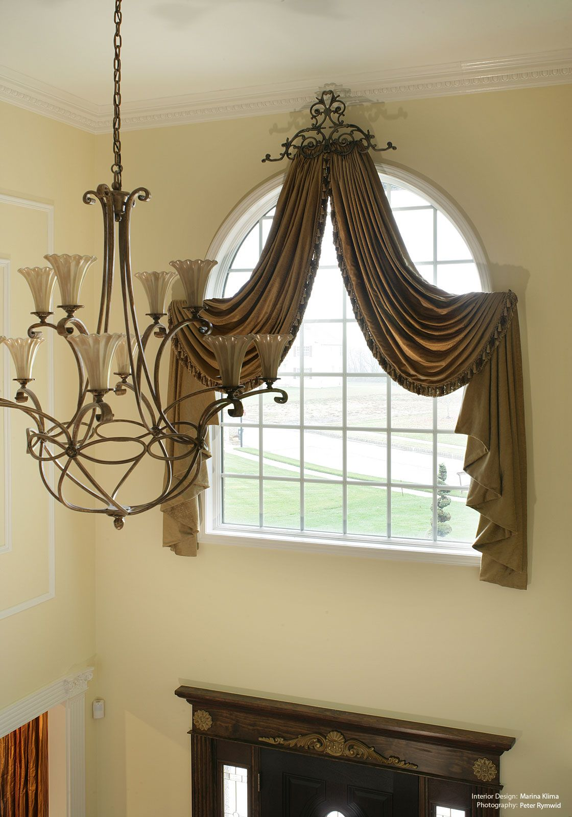 Foyer Curtain Ideas : Arched two story foyer window treatments design