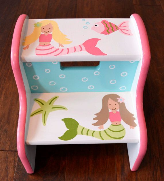 Admirable Mermaids Step Stool Ocean Bathroom By Frogsandfairytales On Machost Co Dining Chair Design Ideas Machostcouk