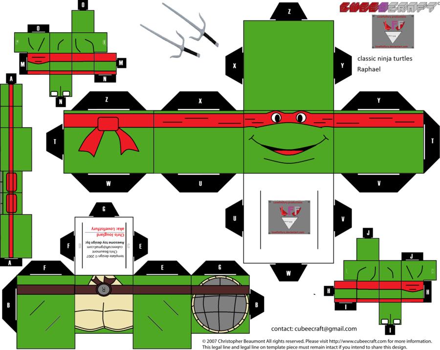 classic Ninja Turtles Raphael Cubee template by lovefistfury.deviantart.com on @deviantART