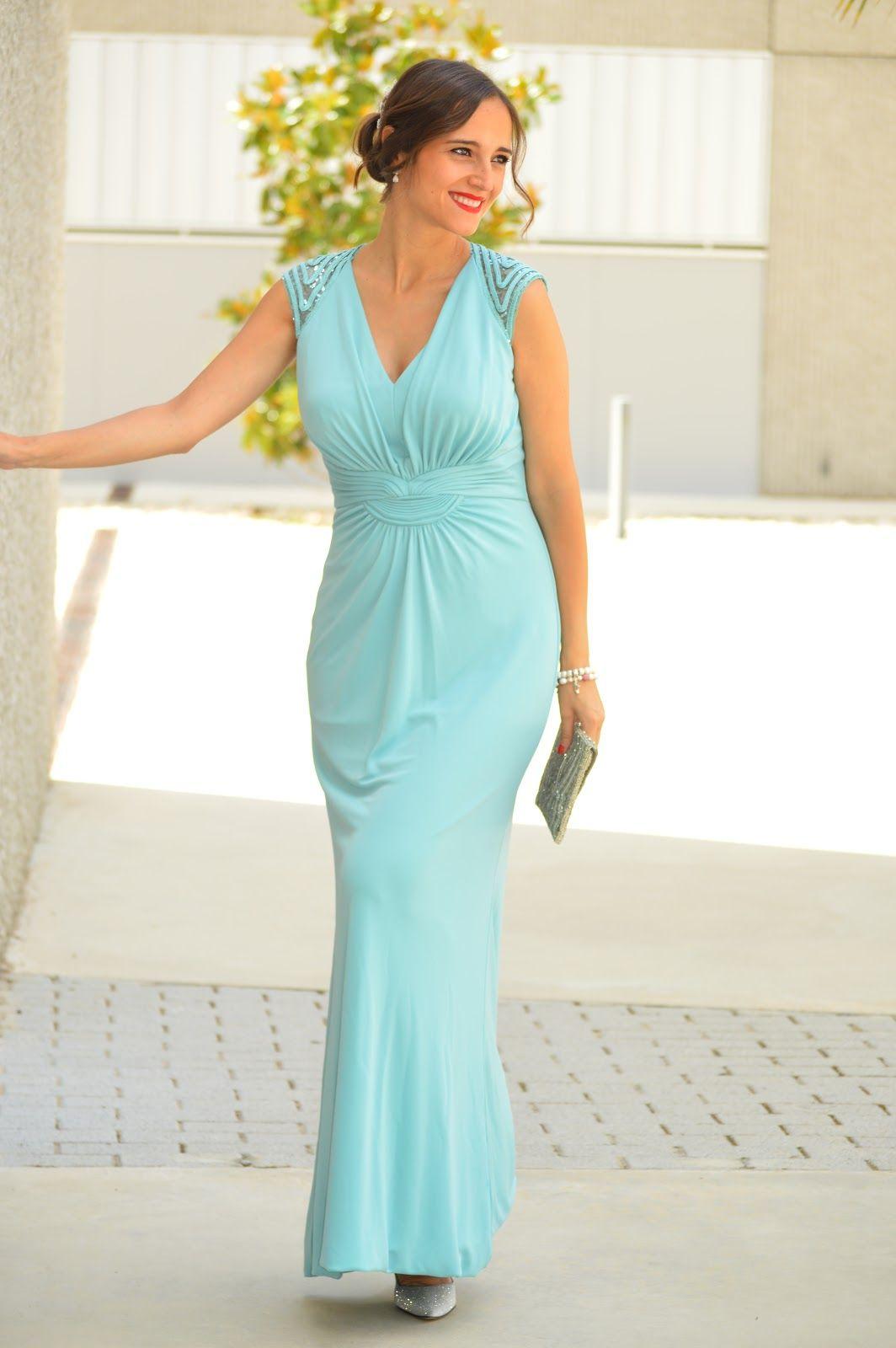 maneras de vestir invitada turqouise blue embellished maxi