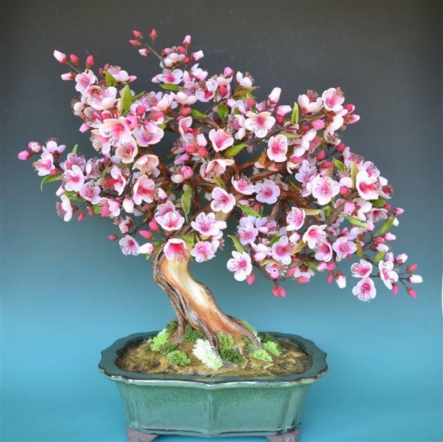 FREE TUTORIAL: polymer clay cherry blossom tree (needs translating). Cómo realizar un Bonsái en Porcelana Fría? | Salahi