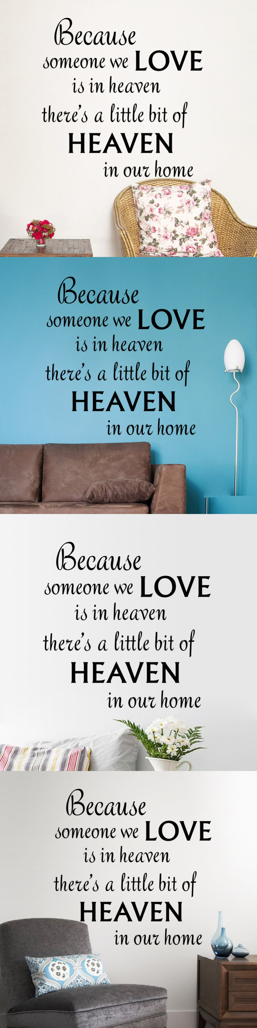 Wedding decorations quotes  New warm quote LOVE HEAVEN home decal wall sticker removable