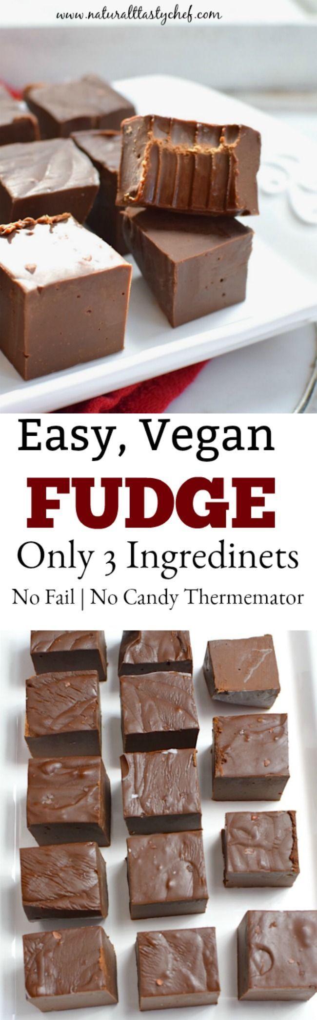 Easy, No-Fail Vegan Chocolate Fudge NO FAIL, 3 ingredient VEGAN chocolate fudge recipe that's so easy to make and totally delicious!