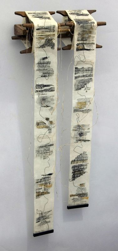 Marking Time by Kathy Miller --Mixed media (48 x 11 x 4 1/2 inches)