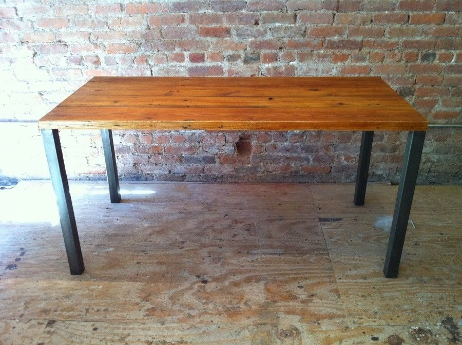 Handmade Rustic Wood Furniture Handmade Reclaimed Wood Table With Burnished Metal  Legs By Picture