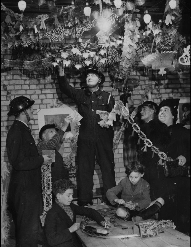 Image result for underground air raid shelters ww2 christmas