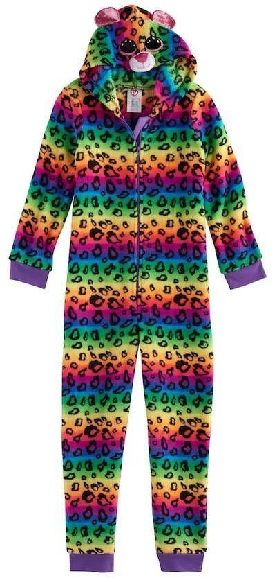 e986c39efd2 Girls 4-12 TY® Beanie Boos Rainbow Leopard Print Fleece One-Piece Pajamas