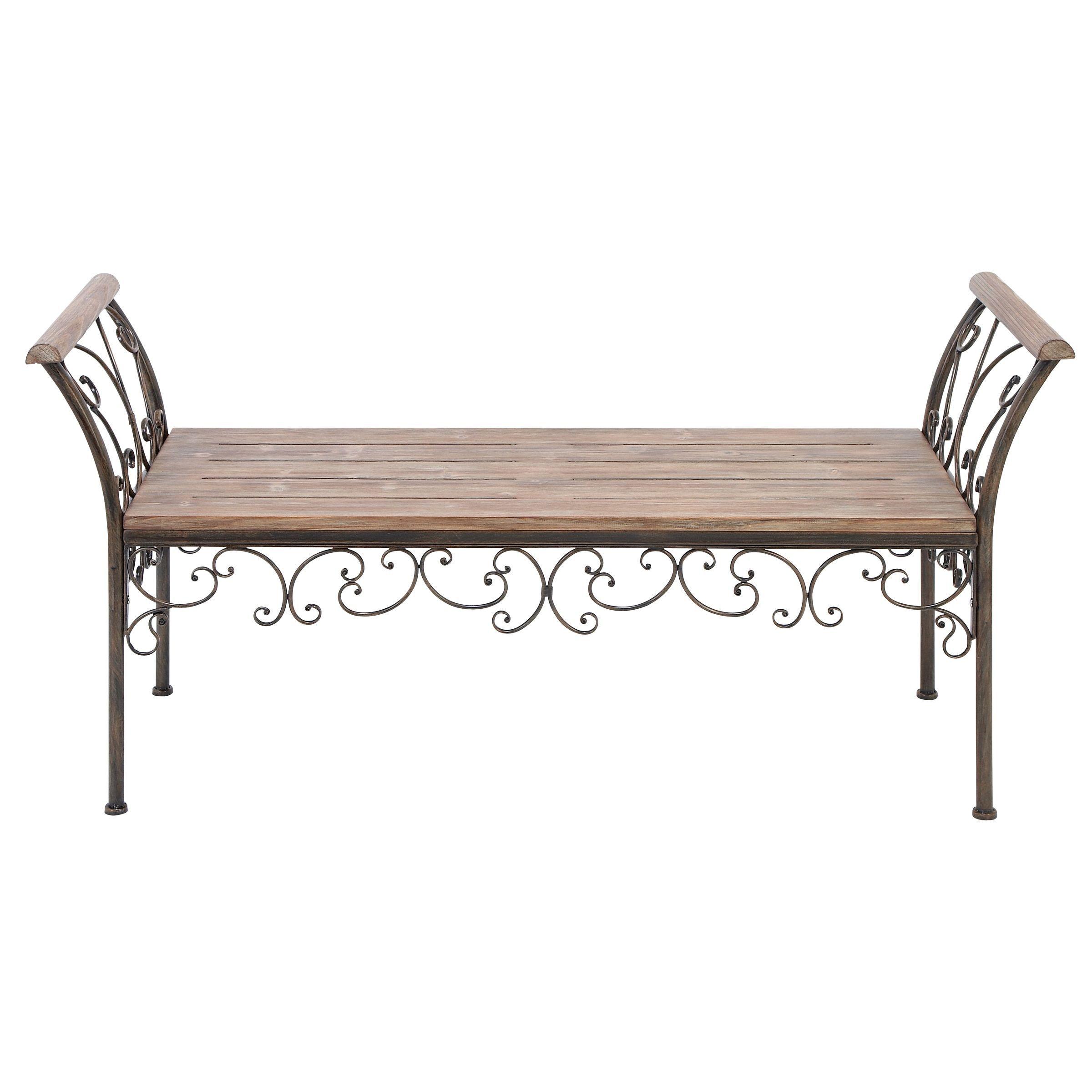 studio 350 scrollwork 27 inch wood metal grey bench patio