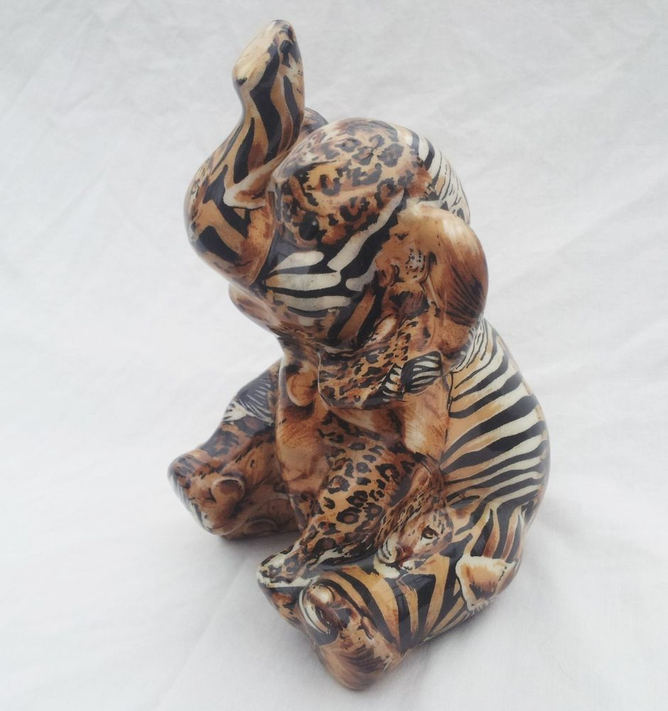 Vintage La Vie Safari Patchwork Print Ceramic Elephant