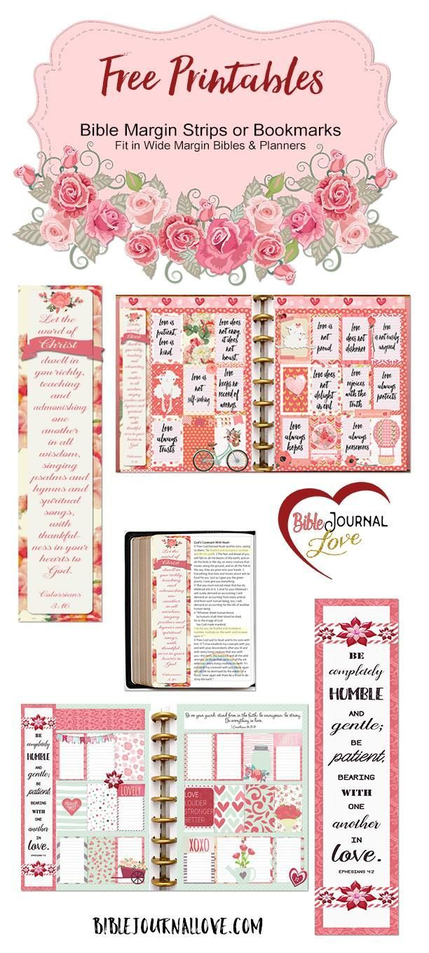 Free Planner Printable Stickers And Bible Journal Margin Strips Fit Wide Planners EC Happy Plannerlove